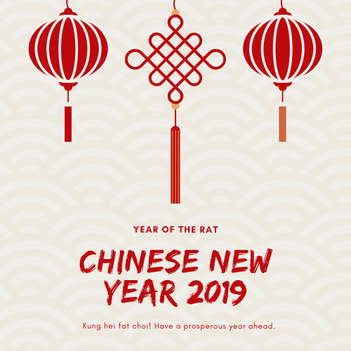 2019 Chinese New Year Holiday Schedule