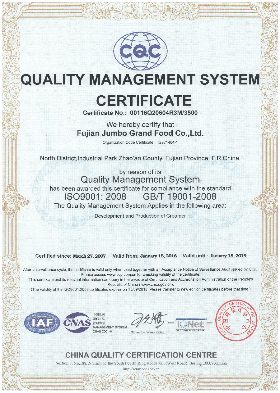JUMBO GRAND -ISO 9001 QUALITY MANAGEMENT SYSTEM CERTIFICATE